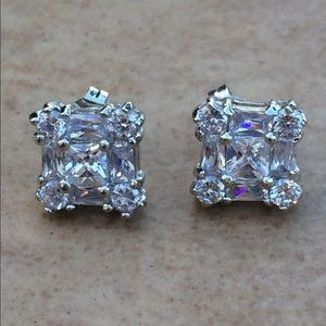 Rhodium Plated CZ Square Princess Cut Cluster Halo